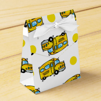 Cartoon School Bus, Yellow & White Polka Dots Party Favor Boxes