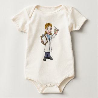 Cartoon Scientist Holding Test Tube and Clipboard Baby Bodysuit