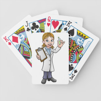 Cartoon Scientist Holding Test Tube and Clipboard Bicycle Playing Cards