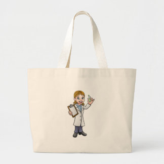 Cartoon Scientist Holding Test Tube and Clipboard Large Tote Bag