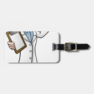 Cartoon Scientist Holding Test Tube and Clipboard Luggage Tag