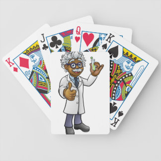 Cartoon Scientist Holding Test Tube Bicycle Playing Cards