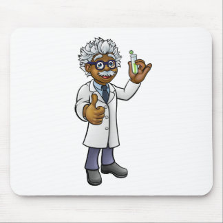 Cartoon Scientist Holding Test Tube Mouse Pad