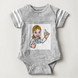 Cartoon Scientist Holding Test Tube Sign Baby Bodysuit
