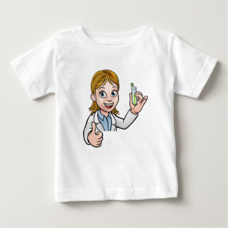 Cartoon Scientist Holding Test Tube Sign Baby T-Shirt