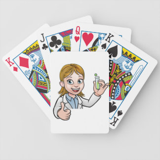 Cartoon Scientist Holding Test Tube Sign Bicycle Playing Cards
