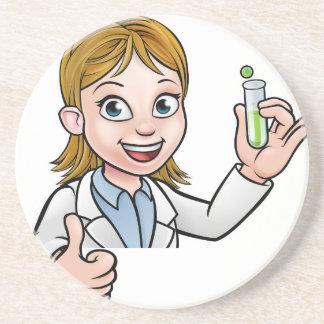 Cartoon Scientist Holding Test Tube Sign Coaster
