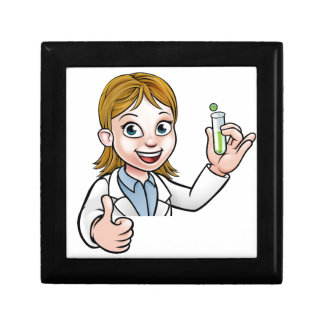 Cartoon Scientist Holding Test Tube Sign Gift Box