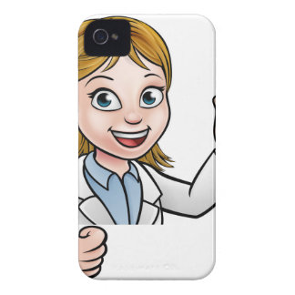 Cartoon Scientist Holding Test Tube Sign iPhone 4 Covers
