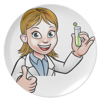 Cartoon Scientist Holding Test Tube Sign Plate