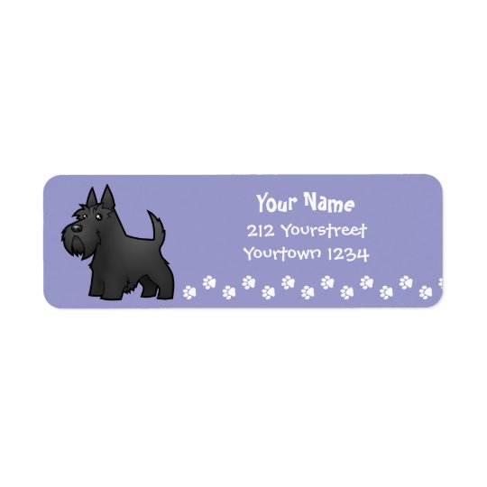 Cartoon Scottish Terrier Return Address Label