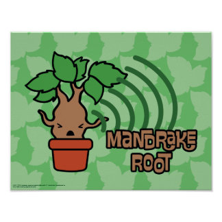 Cartoon Screaming Mandrake Character Art Poster