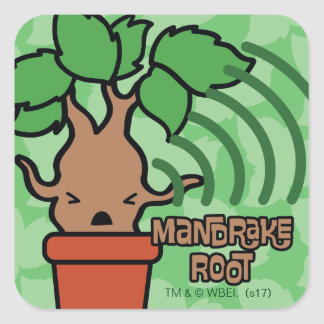 Cartoon Screaming Mandrake Character Art Square Sticker