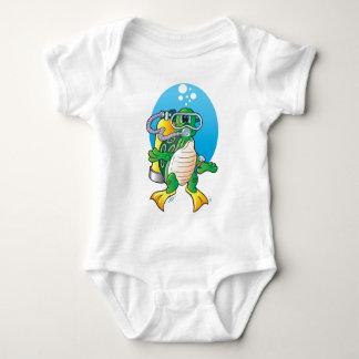 Cartoon Scuba Turtle Baby Bodysuit