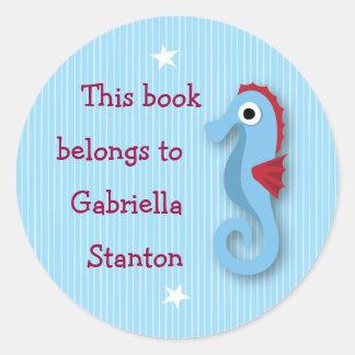 Cartoon sea horse kids customizable bookplates classic round sticker