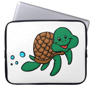 Cartoon sea turtle laptop sleeve