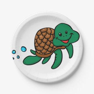 Cartoon sea turtle paper plate