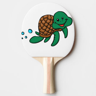 Cartoon sea turtle ping pong paddle