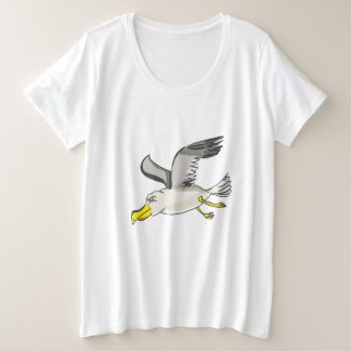 Cartoon seagull flying over head plus size T-Shirt