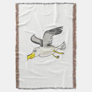Cartoon seagull flying over head throw blanket