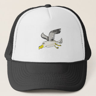 Cartoon seagull flying over head trucker hat