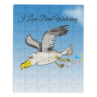 Cartoon seagull flying over head with a blue sky jigsaw puzzle