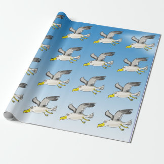 Cartoon seagull flying over head with a blue sky wrapping paper