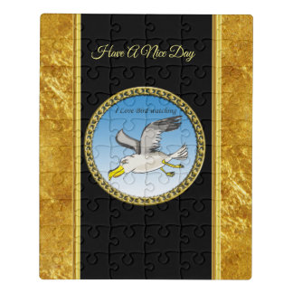 Cartoon seagull flying over head with a gold frame jigsaw puzzle
