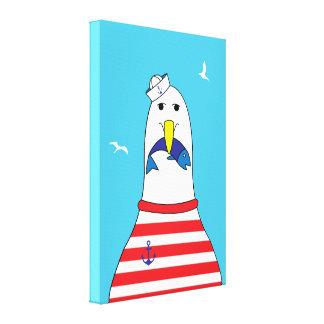 Cartoon Seagull Funny Bird Kids Seaside Theme Canvas Print