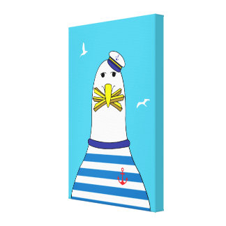 Cartoon Seagull Stolen Your Chips Funny Seaside Canvas Print