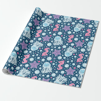 Cartoon Seahorses & Jellyfish   Blue Pink Purple Wrapping Paper