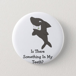 Cartoon Shark With Food In Teeth 2 Inch Round Button