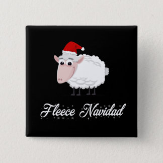 Cartoon Sheep Fleece Navidad 2 Inch Square Button