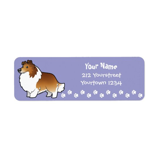 Cartoon Shetland Sheepdog / Collie Return Address Label