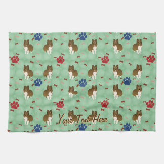 Cartoon Shetland Sheepdog Kitchen Towel