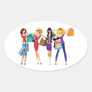 CARTOON SHOPPING GIRLS VECTORS FASHION STYLE FUN F STICKER