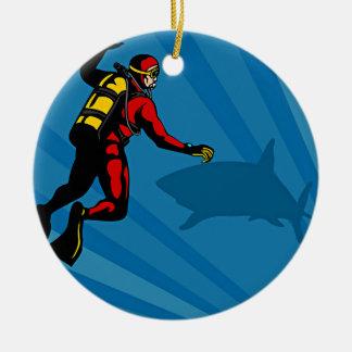 Cartoon Showing Scuba Diver And Shark Ceramic Ornament