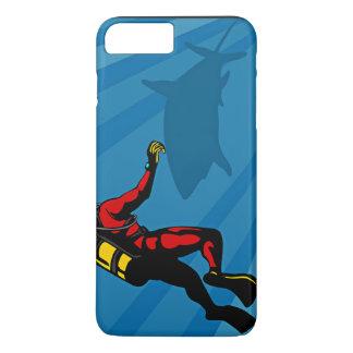 Cartoon Showing Scuba Diver And Shark iPhone 7 Plus Case