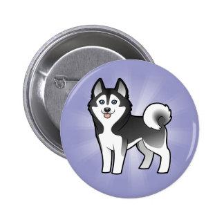 Cartoon Siberian Husky / Alaskan Malamute 2 Inch Round Button