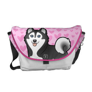 Cartoon Siberian Husky / Alaskan Malamute Courier Bags