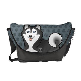 Cartoon Siberian Husky / Alaskan Malamute Messenger Bags