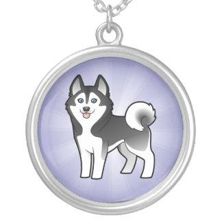Cartoon Siberian Husky / Alaskan Malamute Round Pendant Necklace