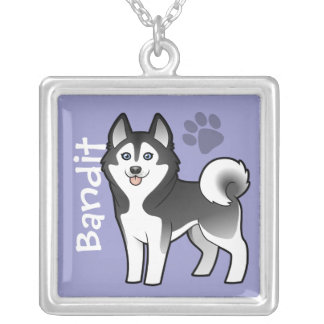 Cartoon Siberian Husky / Alaskan Malamute Silver Plated Necklace