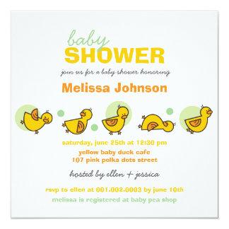 Cartoon Silly Duckies Baby Shower Neutral Invite