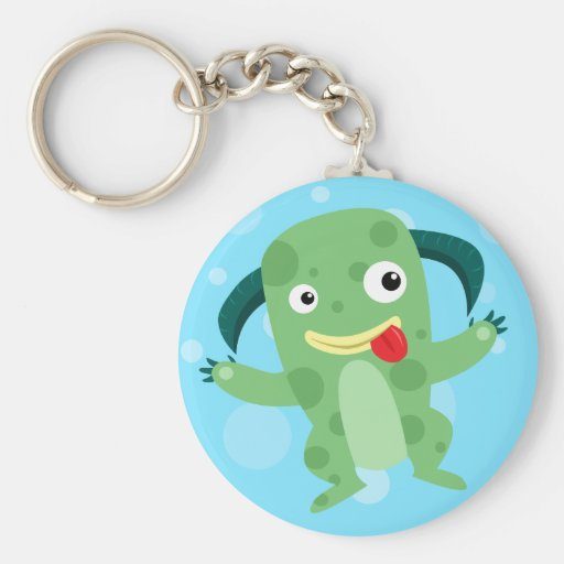 Cartoon Silly Green Monster Keychains