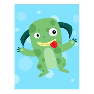 Cartoon Silly Green Monster Post Card