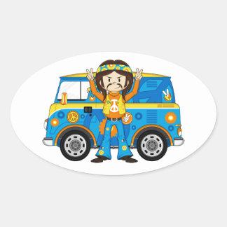 Cartoon Sixties Peace Hippie and Van Oval Sticker