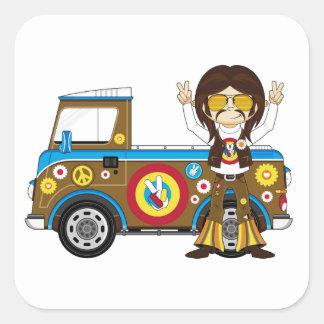 Cartoon Sixties Peace Hippie and Van Sticker