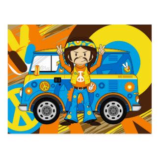 Cartoon Sixties Peace Hippie Postcard