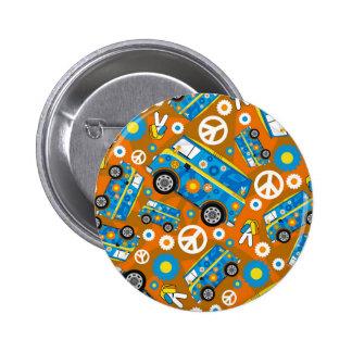 Cartoon Sixties Peace Hippie Van 2 Inch Round Button